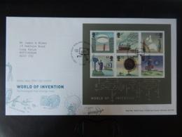 GB 2007 FDC - Miniature Sheet World Of Invention Tallents Postmark First Day Cover Bridges Railways Tv Travel - FDC