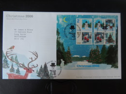 GB 2006 FDC - Miniature Sheet Christmas Tallents Postmark First Day Cover Snowman Santa Claus Reindeer Tree - FDC