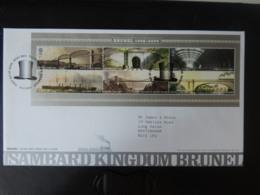 GB 2006 FDC - Miniature Sheet Brunel Tallents Postmark Bridges Railways Ships Tunnels Station Hats - FDC