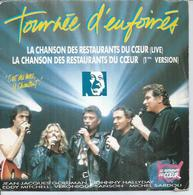 """SP 45 Tours  - JOHNNY HALLYDAY - POLYGRAM 875050  """" TOURNEE D'ENFOIRES """" + MITCHELL / SARDOU / SANSON / GOLDMAN - Vinyles"""