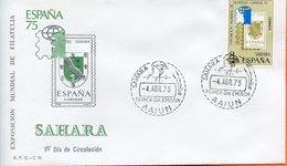 "Maroc, FDC 1975"" Sahara Espagnol  "" Exposicion Mundial De Filatelia "" Marruecos,Morocco - Spanish Sahara"