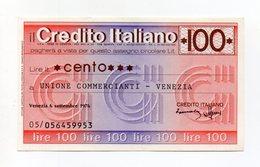 Italia - Miniassegno Da Lire 100 Emesso Dalla Banca Credito Italiano Nel 1976 - (FDC15436) - [10] Checks And Mini-checks