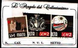 1544) MALTA SERIE ORDINARIA 1£ +2£+2£ - -USATI - Malta