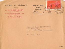 Marcophilie- Monte-Carlo Vous Attend-Timbre  Europa 0,30 F CEPT Monaco - Datée 22.7.1968-sur Lettre A.R.ROLINGHER - Marcophilie - EMA (Empreintes Machines)