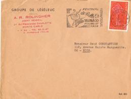 Marcophilie- MONACO III° Festival International De Ballets -Juillet 1968- Sur Lettre A.R.ROLINGHER-Timbre Europa 0,30 - Marcophilie - EMA (Empreintes Machines)