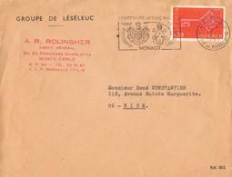 Marcophilie- MONACO Centenaire De L'Abbaye Nullius  1968-sur Lettre A.R.ROLINGHER-Timbre Europa 0,30 - Marcophilie - EMA (Empreintes Machines)
