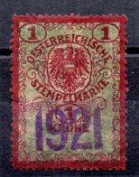 Sello  Fiscal Austria Matasello 1921 - Fiscaux