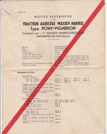 Notice Descriptive Tracteur Massey Harris Type Pony Vigneron 1956 - Agriculture
