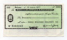 Italia - Miniassegno Da Lire 200 Emesso Dalla Banca Di Trento E Bolzano Nel 1977 - (FDC15443) - [10] Checks And Mini-checks