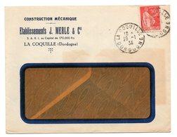 DORDOGNE - Dépt N° 24 = LA COQUILLE 1934 =  CACHET A4 + CONSTRUCTION MERLE - Marcophilie (Lettres)
