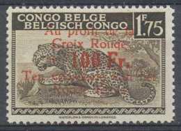 D - [203536]TB//**/Mnh-Congo Belge 1944, N° 272-cu, 50F/1F75 Léopard, Croix Rouge, Curiosité: Surcharge Dans Le Cartouch - Congo Belge
