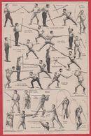Canne Et Bâton. Mouvement, Technique. Illustration P De Laubadère. Larousse 1920 - Zonder Classificatie