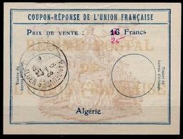 ALGERIE Uf725 /16 FrancsCoupon-Reponse De L' Union Antwortschein Reply O ALGER 28.8.57  Bienen / Bees / Abeilles - Covers & Documents