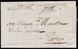 ARMÉE DES PYRÉNÉES. 1799. TOULOUSE À PARIS. MARQUE 30/TOULOUSE. FRANCHISE 10è DIVISION MILITAIRE. TRÈS BELLE. - Marcofilia (sobres)
