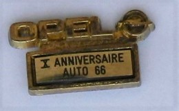 VP24 Pin's Car Voiture Opel X Anniversaire 66 Perpignan Pyrénées-Orientales Qualité Arthus Signé Déposé France - Opel