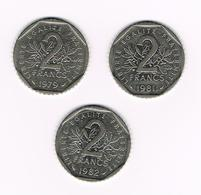 //  FRANKRIJK  3 X 2 FRANCS  1979/81/82 - I. 2 Francs