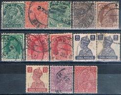 India 1932 / 41  -  Michel  130 + 132 + 135 + 136 + 147 / 49 + 176 + 177  ( Usados ) - 1947-49 Dominio Británico