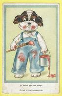 * Fantaisie - Fantasy - Fantasie * (Colorprint 89) Chien, Dog, Hund, Hond, Peintre, Schilder, Verf Je Finirai Voir Rouge - Chiens