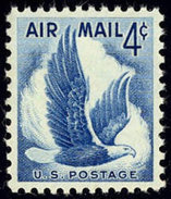 1954 USA Air Mail Stamp Eagle In Flight Sc#c48 Post Bird - Nature