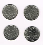 //  FRANKRIJK  4 X 1 FRANC  1967/76/77/91 - H. 1 Franc