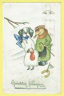 * Fantaisie - Fantasy - Fantasie * (Colorprint Elite 4047) Bonne Année, New Year, Hond, Chien, Dog, Love Amour, Cigare - Chiens