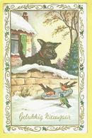 * Fantaisie - Fantasy - Fantasie * (54339) Bonne Année, New Year, Hond Chien Dog, Oiseaux, Birds, Vogel, Neige Snow - Chiens