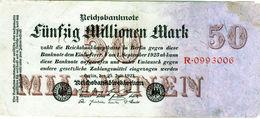 Billet De 50 Millionen Mark - En T B - Le 25-7-1923 - Uni Face - 7 Chiffres - - [ 3] 1918-1933 : Repubblica  Di Weimar