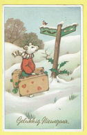* Fantaisie - Fantasy - Fantasie * (Colorprint 53055) Bonne Année, New Year, Hond Chien Dog, Neige, Snow, Voyage - Chiens