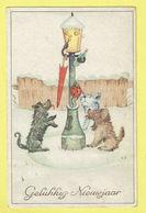 * Fantaisie - Fantasy - Fantasie * (Colorprint 3670) Bonne Année, New Year, Hond Chien Dog, Neige, Snow, Lanterne Bottle - Chiens