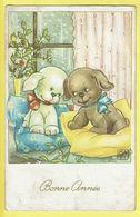 * Fantaisie - Fantasy - Fantasie * (JC) Bonne Année, New Year, Hond Chien Dog, Love, Amour, Liefde, Couple, Intérieur - Chiens
