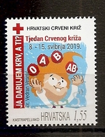 CROATIA  2019,RED CROSS,RED CROSS WEEK,I GIVE BLOOD,,MNH - Croatie