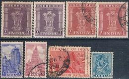 India 1950  -  Michel  101 + 127 + 128 + 211 + 215 / 17 + 153  ( Usados ) - 1950-59 República