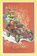 * Fantaisie - Fantasy - Fantasie * (54772) Bonne Année, New Year, Chien Dog Hond, Père Noel, Santa, Oldtimer Car Voiture - Chiens