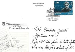 """PORTUGAL - Special Cover And Commemorative Postmark - Composer """"Francisco De Lacerda"""" - 150 Years Of Birth - Musique"""