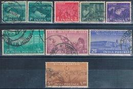India 1953 / 55  -  Michel  230 + 232 + 237 + 239 + 241 + 244 + 245 + 250  ( Usados ) - 1950-59 República
