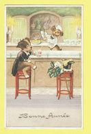 * Fantaisie - Fantasy - Fantasie * (colorprint 53434/6) Bonne Année, Café, Bar, Chien Dog Hund, Hond, Alcool - Chiens