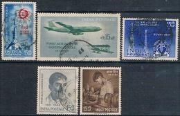 India 1961 -  Michel  321 + 326 + 327 + 329 + 330  ( Usados ) - India