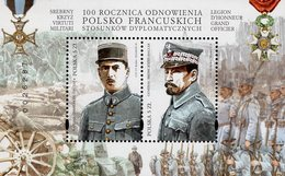 Poland - 2019 - Centenary Of Restoration Of Polish-French Diplomatic Relations - Joint Issue With France -souvenir Sheet - 1944-.... République