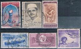 India 1965 / 66 -  Michel  384 + 386 + 387 + 397 + 406 + 407  ( Usados ) - India
