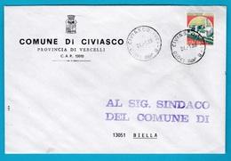 1989 Comuni Comune Di Civiasco Affrancata Con Castelli Isolato Storia Postale - 6. 1946-.. Repubblica
