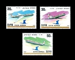 North Korea 1997 Mih. 3964/66 Aviation. Air Koryo Airlines. Planes Tu-134, Tu-154 And II-62 MNH ** - Korea, North