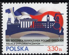 Poland - 2019 - Centenary Of Establishing Polish-Greek Diplomatic Relations - Joint Issue With Greece - Mint Stamp - 1944-.... République