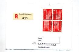 Lettre Recommandee Zurich Sur Tete Beche Carré Eglise - Marcophilie