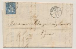 Zumstein 31 / Michel 23 Auf  Brief, Gelaufen Ab GENEVE Nach NYON Mit Inhalt: Briefkopf  PEYTREGNET - Briefe U. Dokumente