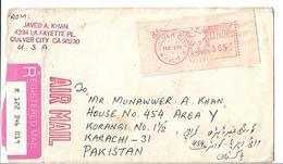 USA Registered Airmail Red Machine Paid Postmark Sent To Pakistan. - Brieven En Documenten