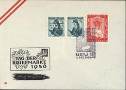 Autriche YT 739 X2 Dont 1 Surchargé Tag Der Briefmarke Werbeaustellung Des 1 Alpenland Briefmarken Sammler Vereines - 1945-60 Cartas