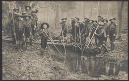 """Carte Photo Scoutisme : Troupes Dans Les Bois / Cachet """"Institut Des Sourd-Muets Charleroi (Nord)"""" - Scouting"""