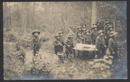 """Carte Photo Scoutisme : Enfants Dans Les Bois Portant Un Drapeau / Cachet """"Institut Des Sourd-Muets Charleroi (Nord)"""" - Scouting"""
