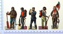 5 CHROMOS DECOUPIS.... MARINS...EXPLORATION ...MESURE ...SCAPHANDRIERS - Victorian Die-cuts