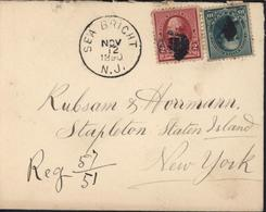 YT 71 77 Washington + Webster Oblit Killer + CAD Sea Bricht NJ Nov 12 1890 Registered Recommandé 57 51 - Lettres & Documents